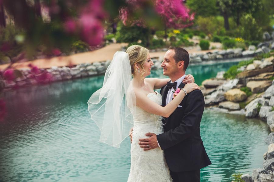 valley ridge golf calgary wedding photographer anna michalska bride groom overlooking emerald pond