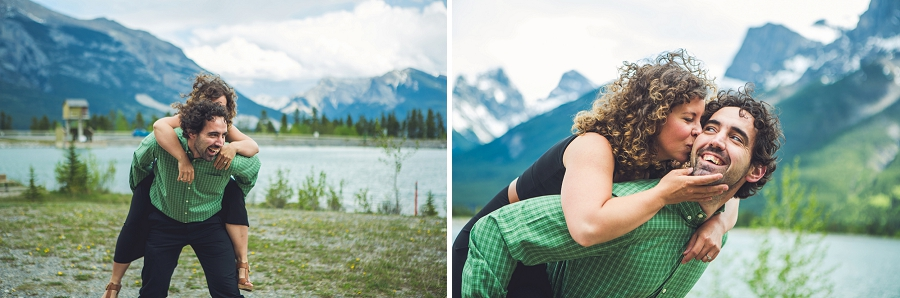 piggy back kiss rocky mountain engagement calgary wedding photographer anna michalska