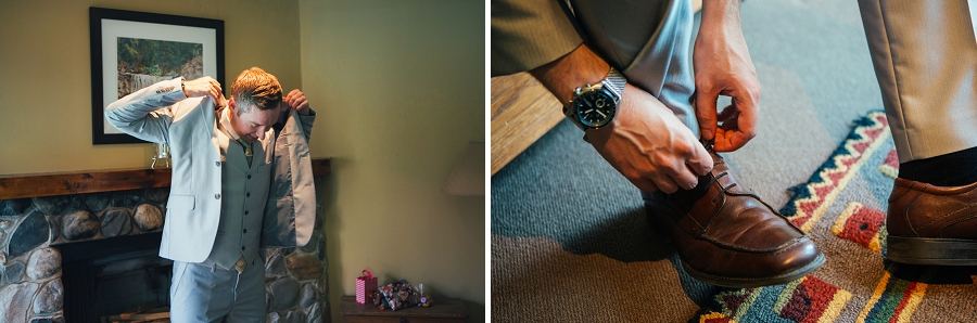 calgary wedding photographer emerald lake lodge anna michalska groom tying shoes