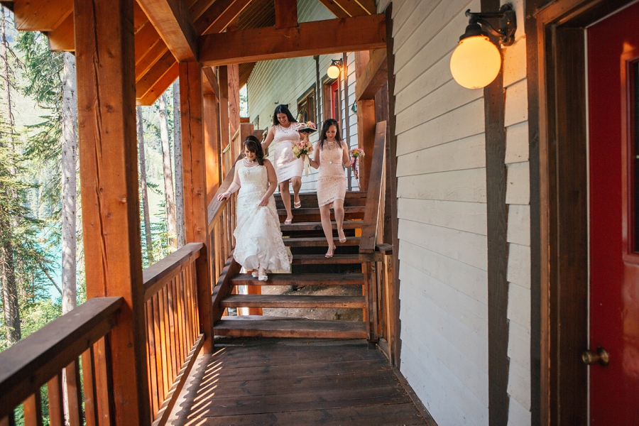 bride walking to ceremony calgary wedding photographer emerald lake lodge anna michalska