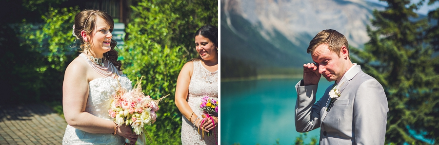 groom crying while bride walks down aisle calgary wedding photographer emerald lake lodge anna michalska