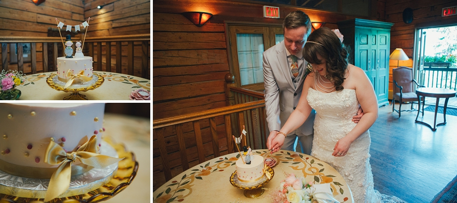 cutting the cake calgary wedding photographer emerald lake lodge anna michalska
