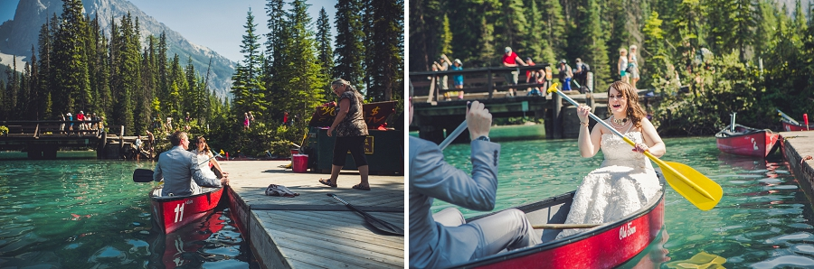 bride and groom canoe calgary wedding photographer emerald lake lodge anna michalska