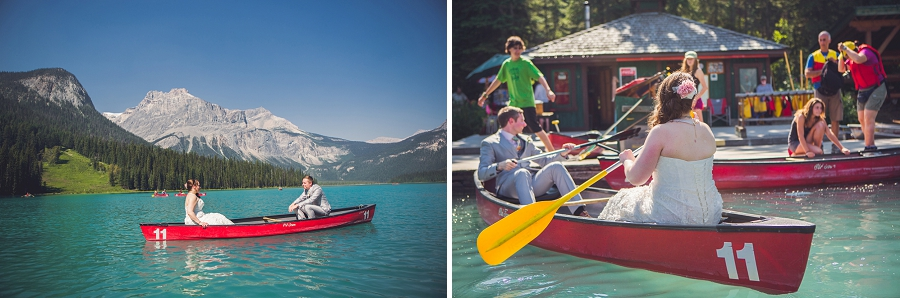 canoe bride and groom on lake calgary wedding photographer emerald lake lodge anna michalska