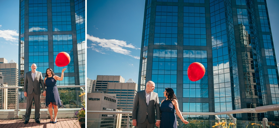 red balloon calgary rooftop engagement pictures fairmont palliser couple wedding