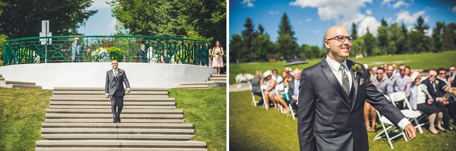 groom walking down aisle baker park wedding calgary wedding photographers anna michalska