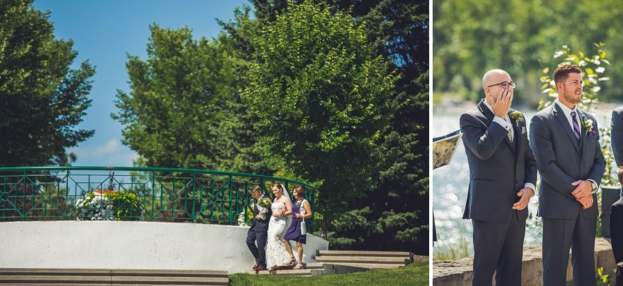 bride walking down aisle baker park wedding calgary wedding photographers anna michalska