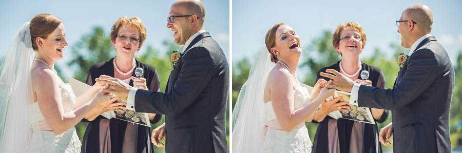 exchange of rings funny baker park wedding calgary wedding photographers anna michalska