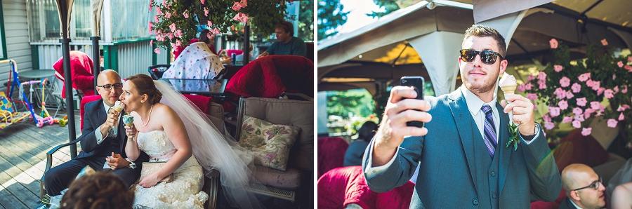 selfie with ice cream groomsman angel's cappuccino and ice cream edworthy park calgary wedding photographers anna michalska
