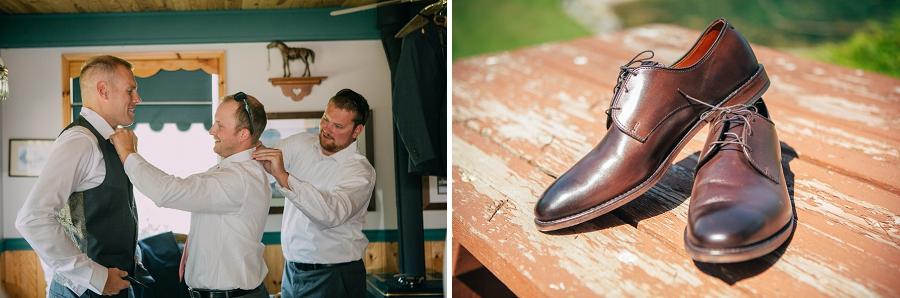 groomsmen getting ready brown leather shoes spring valley chapel rustic wedding alberta calgary photographer anna michalska