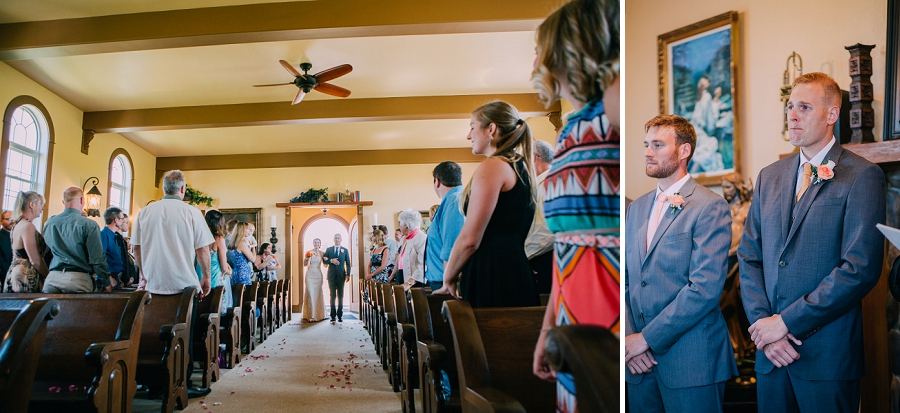 bride walking down aisle groom crying spring valley chapel rustic wedding alberta calgary photographer anna michalska