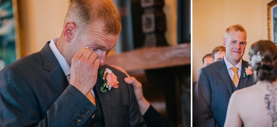 groom crying spring valley chapel rustic wedding alberta calgary photographer anna michalska