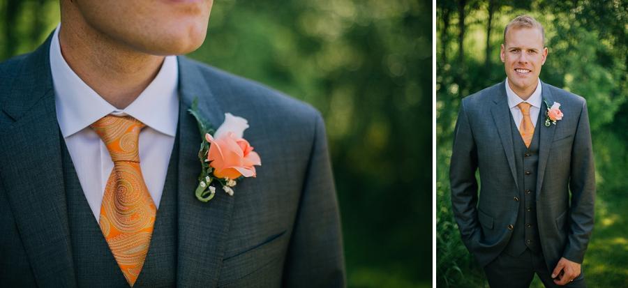 groom orange tie spring valley chapel rustic wedding alberta calgary photographer anna michalska