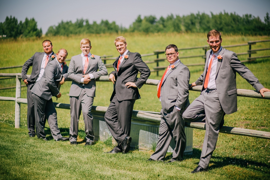 groomsmen hanging out spring valley chapel rustic wedding alberta calgary photographer anna michalska