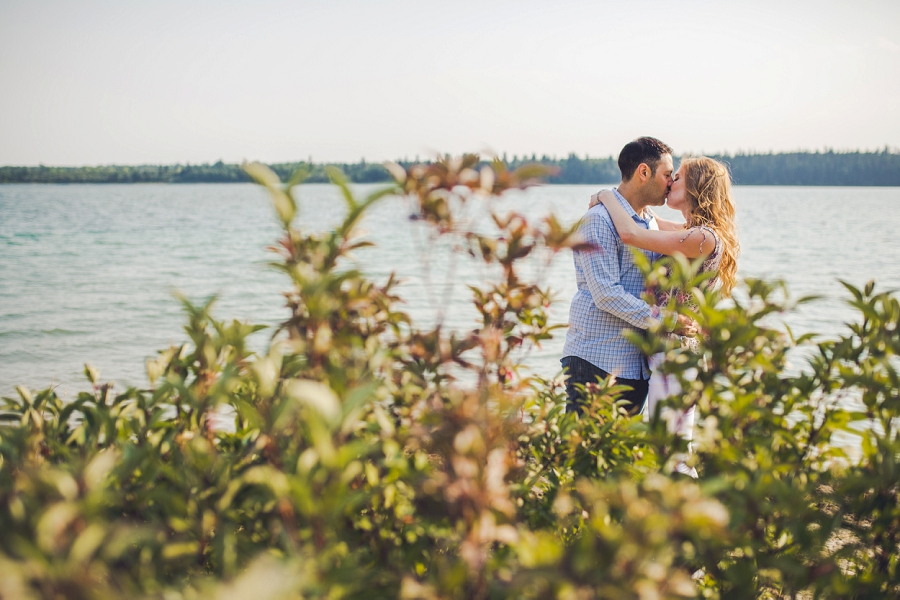 couple in bushes kissing sunset north glenmore park calgary engagement photos anna michalska wedding summer
