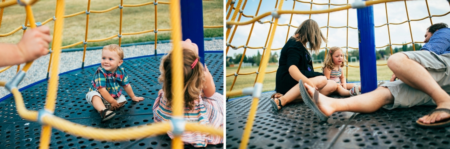 family on playground set calgary family photographer candid family photos