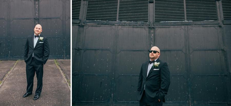 black suit bow tie sunglasses groom heritage park wedding calgary photographer anna michalska