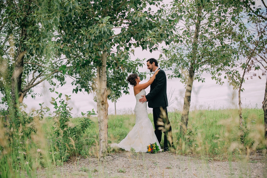 calgary wedding photographer anna michalska nose hill park bride groom trees
