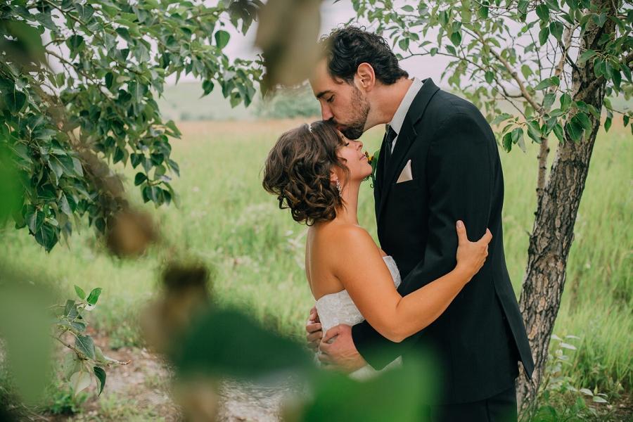 groom kissing forehead of bride trees nose hill park calgary wedding photographer anna michalska