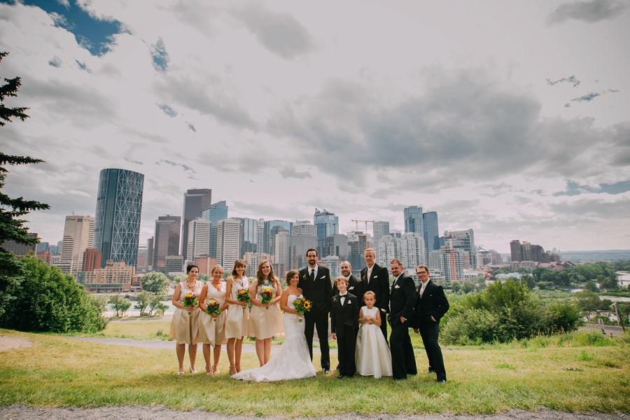 rotary park calgary wedding photographer anna michalska bridal party downtown skyline