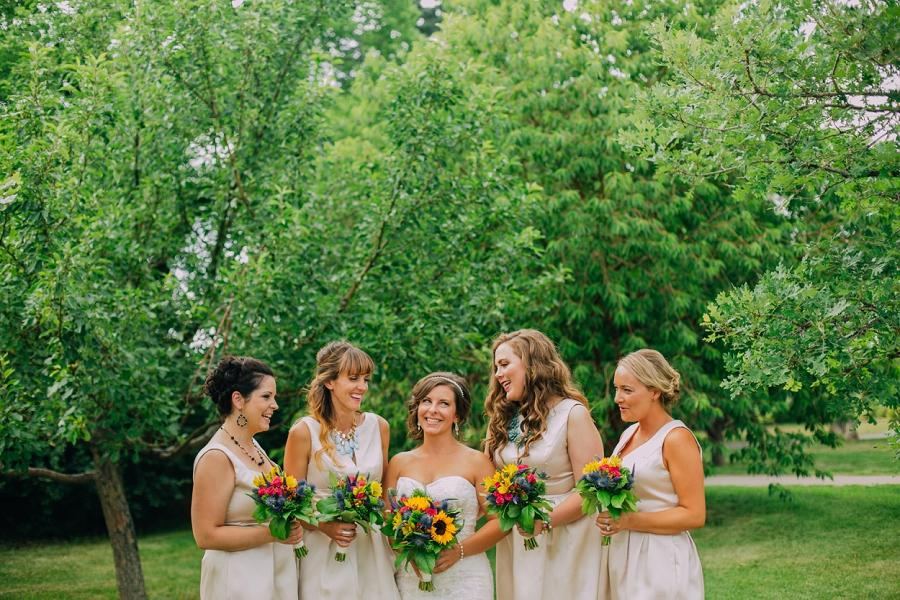 bridesmaids bride champagne dress rotary park calgary wedding photographer anna michalska