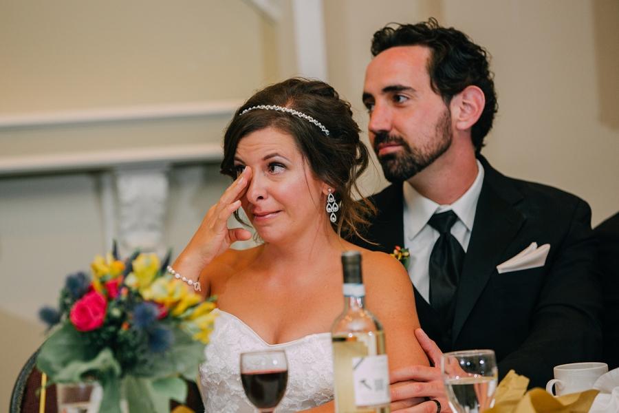 bride tearing up over speeches ramada plaza hotel calgary wedding photographer anna michalska