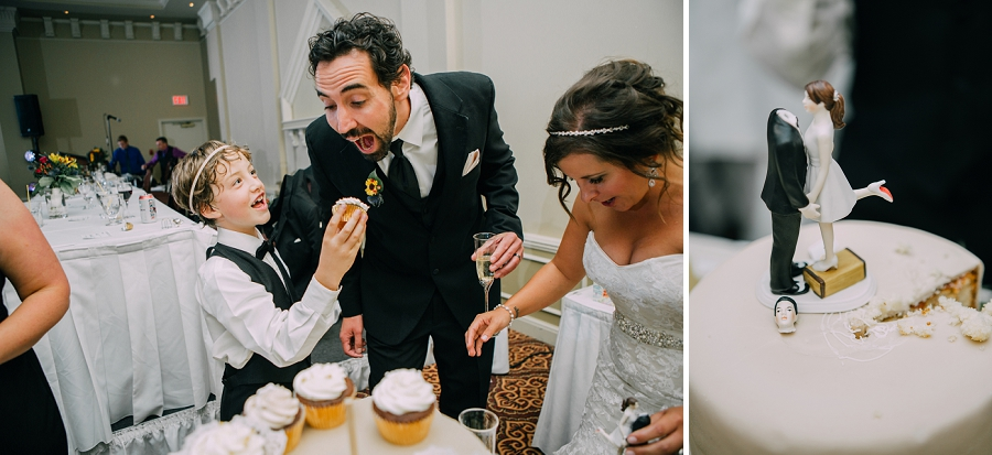 groom getting fed cupcake cake ramada plaza hotel calgary wedding photographer anna michalska
