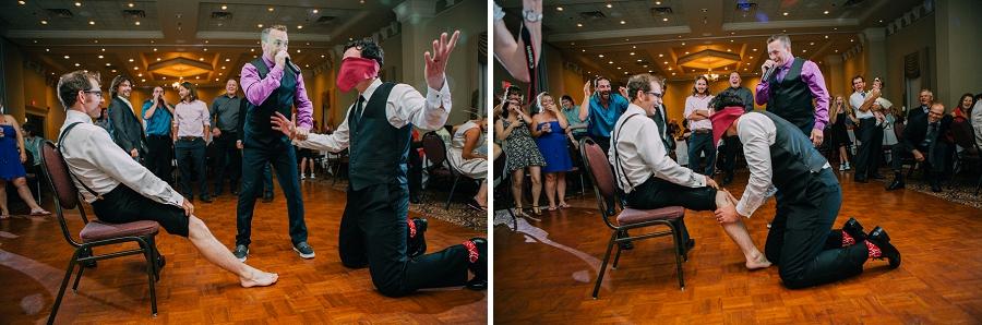 garter leg swap joke ramada plaza hotel calgary wedding photographer anna michalska