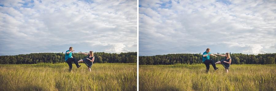 couple doing ninja poses fish creek park engagement session calgary wedding photographer anna michalska