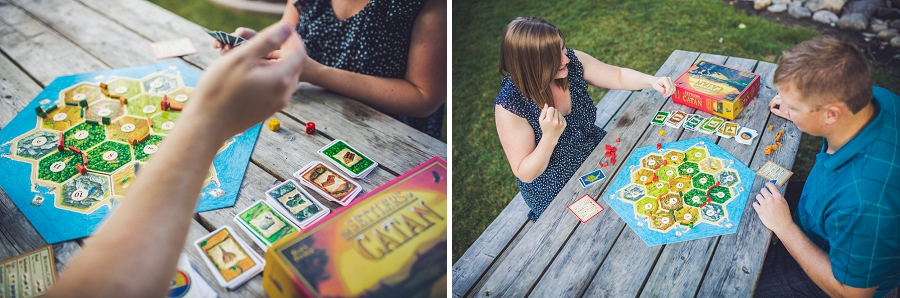 rolling dice in catan fish creek park engagement session calgary wedding photographer anna michalska