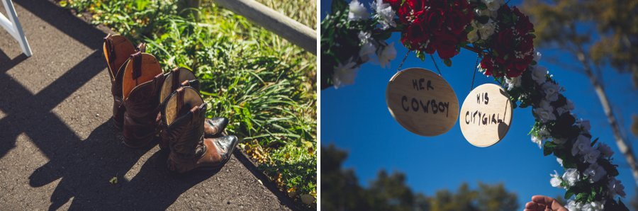 wedding ceremony signs cowboy boots cowboy themed wedding calgary wedding photographer anna michalska