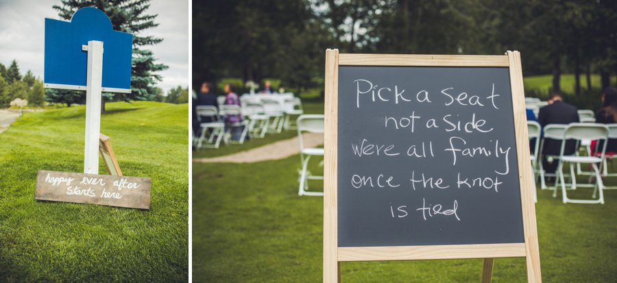 chalkboard ceremony sign elbow springs golf club calgary wedding photographer anna michalska