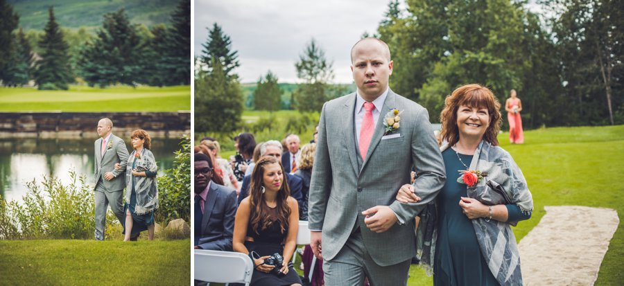 groom walking with mother down aisle elbow springs golf club calgary wedding photographer anna michalska