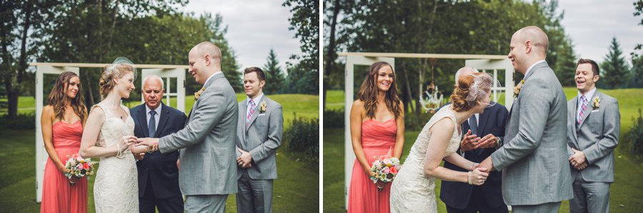 exchange of rings elbow springs golf club calgary wedding photographer anna michalska
