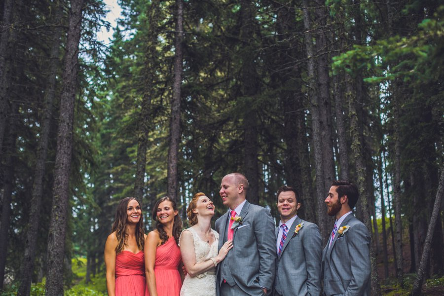 bridal party laughing calgary wedding photographer anna michalska