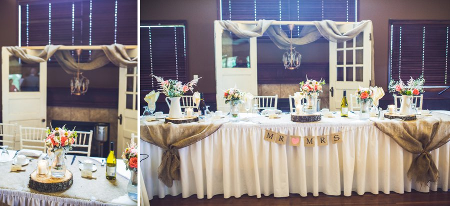 rustic head table reception decor elbow springs golf club calgary wedding photographer anna michalska
