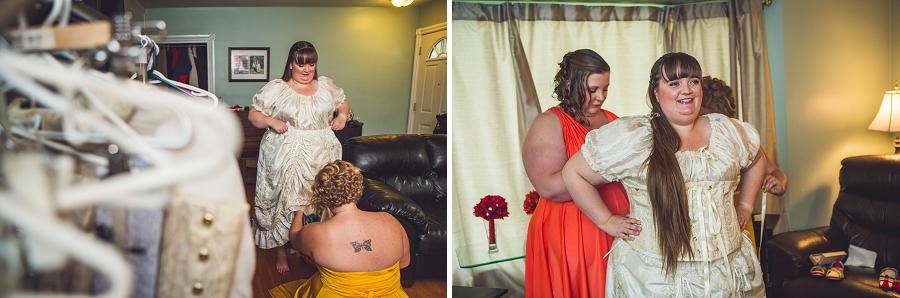 bride getting dressed calgary wedding photographer anna michalska