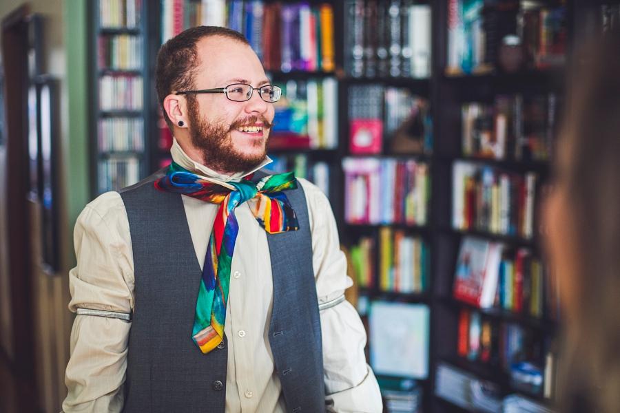 groom rainbow tie calgary wedding photographer anna michalska