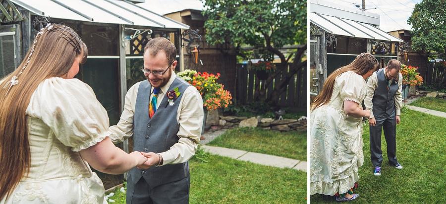 groom admiring bride calgary wedding photographer anna michalska