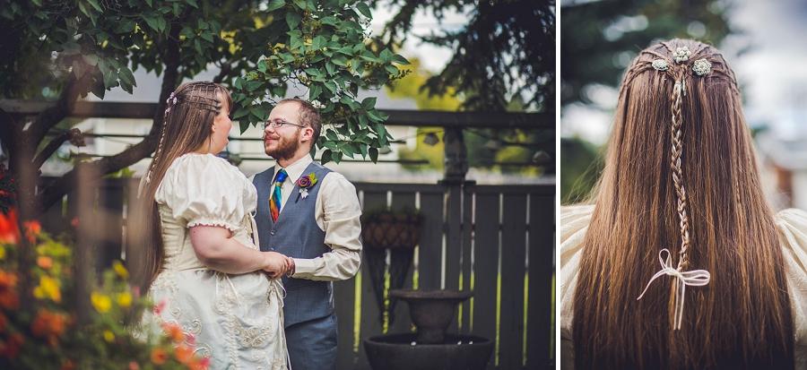 bride long hair crosshatch braids calgary wedding photographer anna michalska