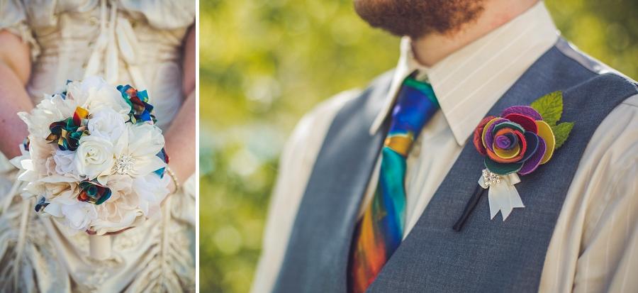 rainbow leather boutonniere bridal bouquet calgary wedding photographer anna michalska