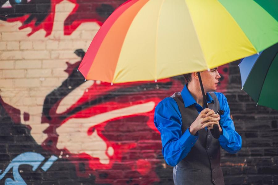 rainbow umbrellas calgary wedding photographer anna michalska