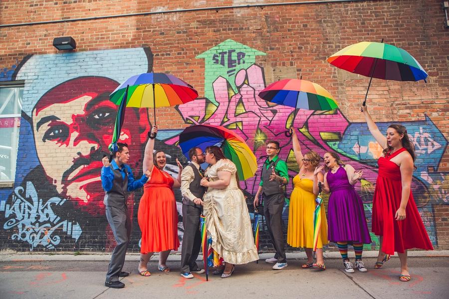 bridal party rainbow wedding umbrellas calgary wedding photographer anna michalska