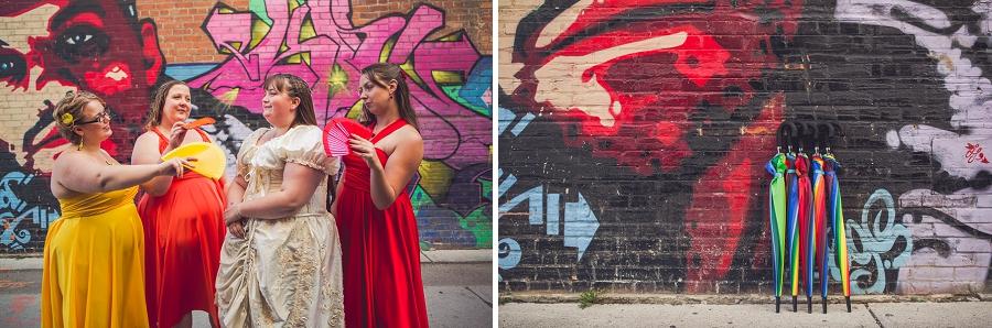 bridesmaids rainbow wedding calgary wedding photographer anna michalska