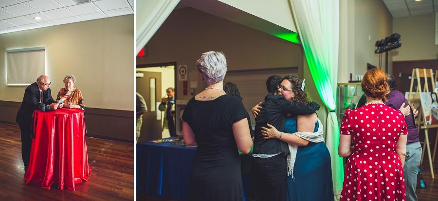guests hugging rainbow wedding calgary wedding photographer anna michalska