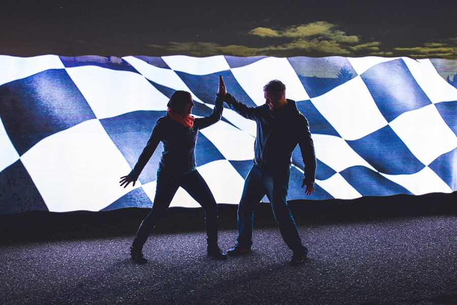 pixelstick car checkered flag summer engagement session calgary wedding photographer anna michalska