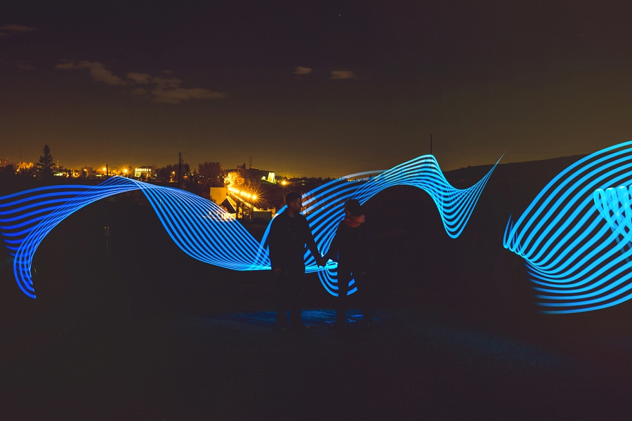 blue lines pixelstick summer engagement session calgary wedding photographer anna michalska