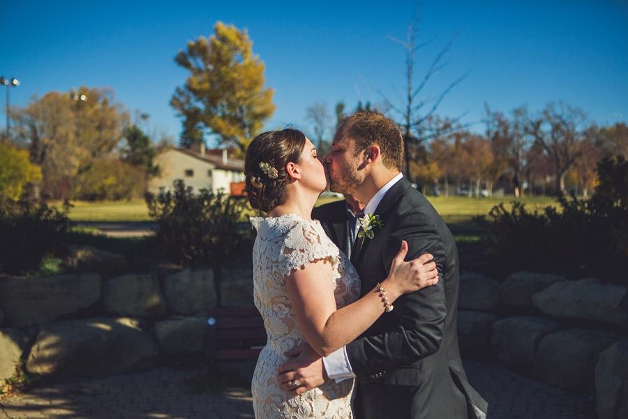 first kiss downtown calgary elopement wedding photographer anna michalska