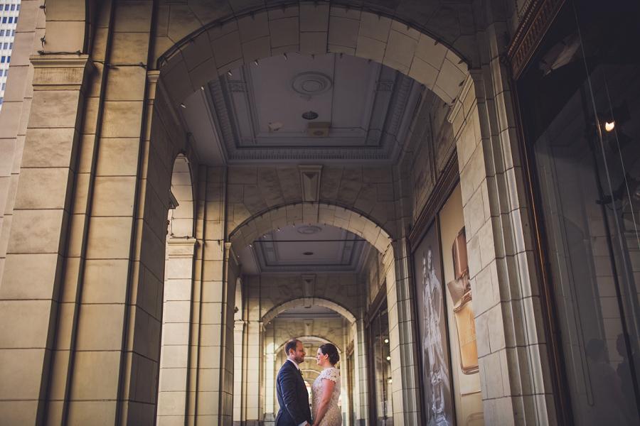 bride groom the bay arches calgary wedding photographer anna michalska