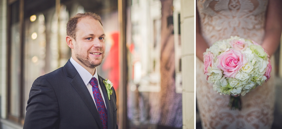 the groom white pink roses bouquet calgary wedding photographer anna michalska